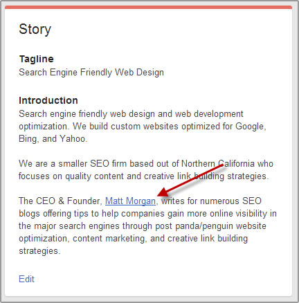 Google+ Page About Section