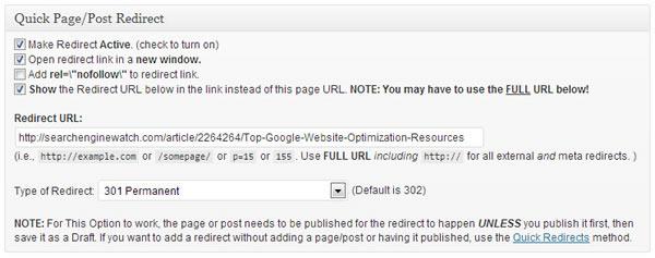 301 redirect plugin settings