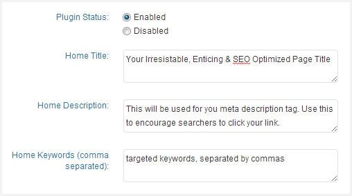 Custom page title & meta tags