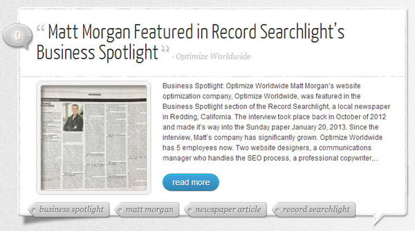 Matt Morgan Featured in Newspaper