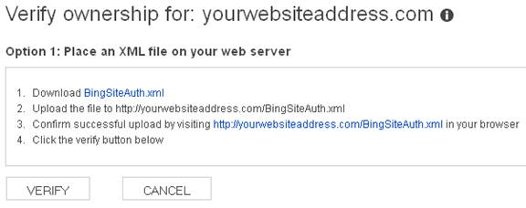 Bing Webmaster Tools - Verify Ownership