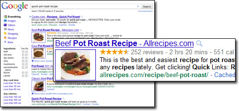 Google recipe search with microdata