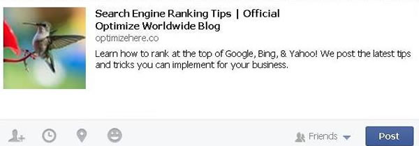 Optimize Worldwide blog description on facebook share