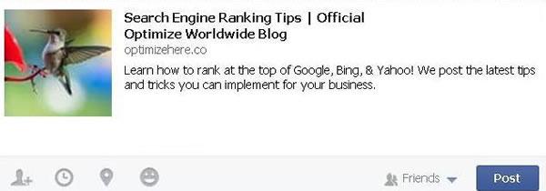 Optimize Worldwide blog description on facebook share