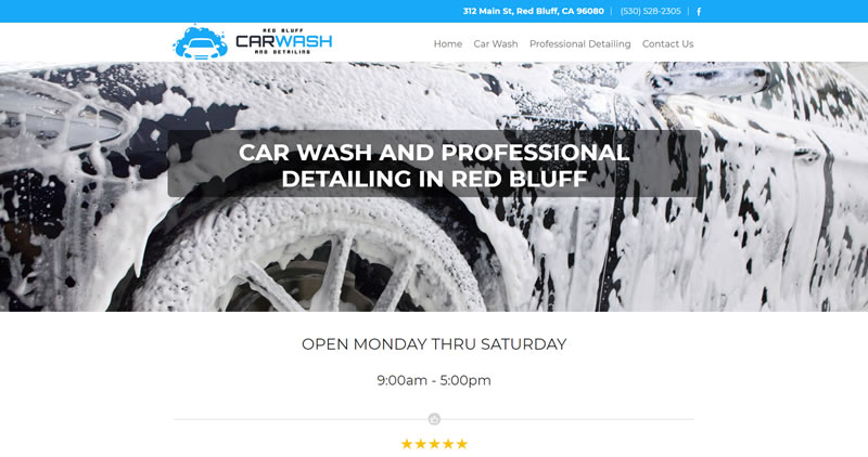 Red Bluff Car Wash - Website Design by Optimize Worldwide