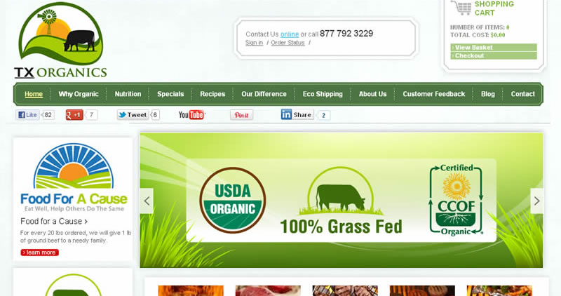 Organic Beef Shopping Cart - Website Design by Optimize Worldwide