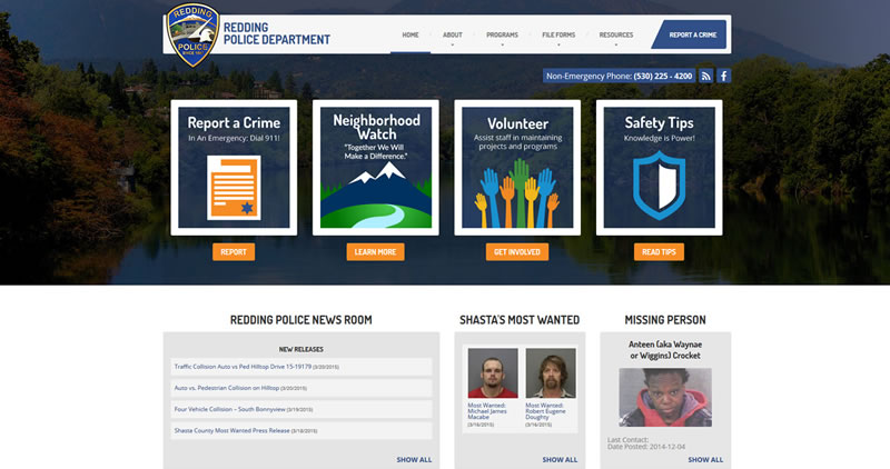 Redding Police Department - Website Design by Optimize Worldwide