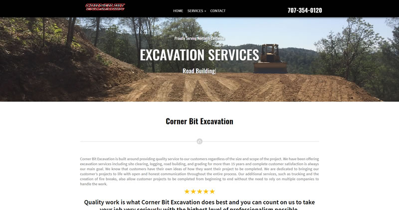 CornerBitExcavation.com - Website Design by Optimize Worldwide