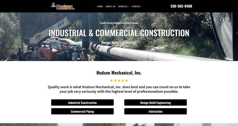 HudsonMechanical.biz - Website Design by Optimize Worlwide