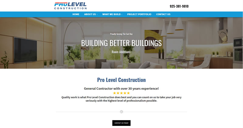 Pro Level Construction - Website Design by Optimize Worlwide