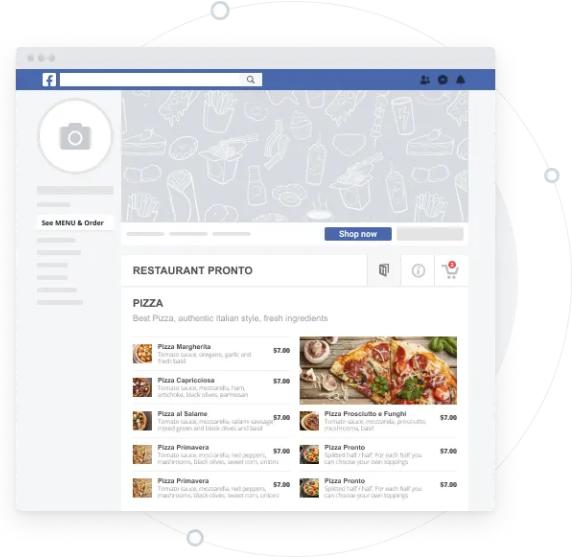 Facebook online ordering system